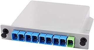 eDealMax 1x8 PLC de fibra óptica Splitter Adaptor de montaje en bastidor SC Caja de distribución