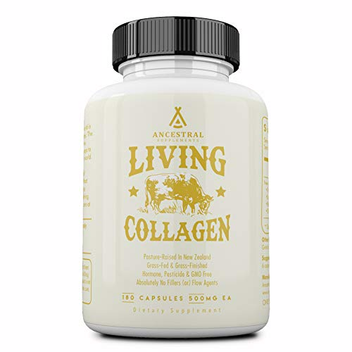 Ancestral Supplements Grass Fed (Living) Collagen—Supports Joints, Marrow Bones, Cartilage, Skin, Hair, Nails (180 Capsules)