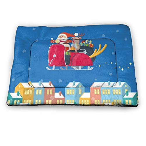Arehji Santa riding scooter over winter town Non Slip Pet Bed Mat Washable Dog Mattress Pad Cat Blanket Cushion 18' x12