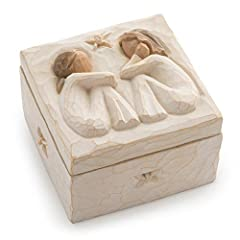 """Sentiment written inside box: """"Forever true, forever friends"""". Includes Enclosure Card 3""""square x 2""""h hand-painted resin box. Bas-relief carving of two seated figures in cream dresses, facing each other, on lid (not attached) fitted to a cream square..."""