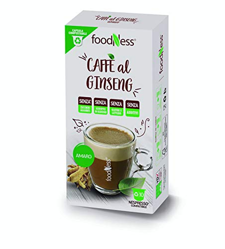 FoodNess - Cápsula de café con ginseng amargo compatible con sistema nespresso sin gluten, lactosa y azúcares añadidos (1 caja Tot. 10 cápsulas)