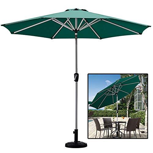 WGE Parasols 8,9 Pieds Parapluie de Jardin, Parapluie D'extérieur pour Pelouse Plate-Forme Arrière-Cour Bassin, Parapluie Patio avec Inclinaison du Bouton-Poussoir et Manivelle, Vert
