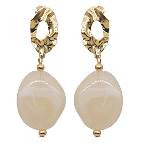 Baroque Natural Stone Dangle Earrings Geometric Circle Disc Coin Drop Earrings for Women Girls Fashion (White)