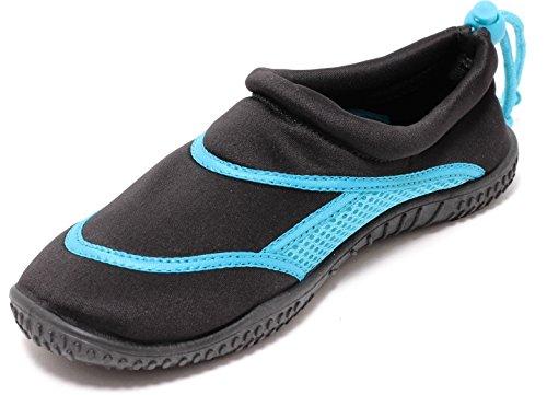 Zapato NEOPREN Unisex Aquaschuhe Gr. 36-41 Badeschuhe Schwimmschuhe SCHWARZ/Aqua Blue (38/39)