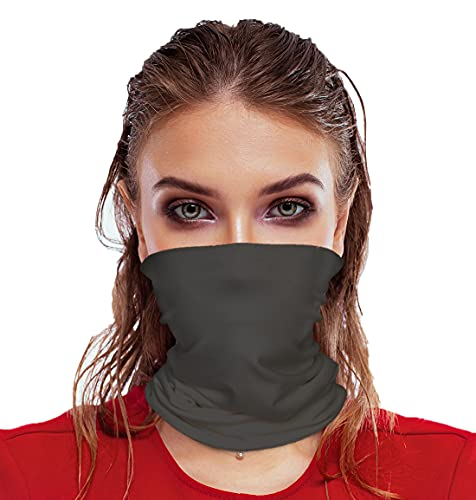 Face Mask Bandana Neck Gaiter Made in USA for Dust Outdoors Festival Activities (One Size, Dark Grey)