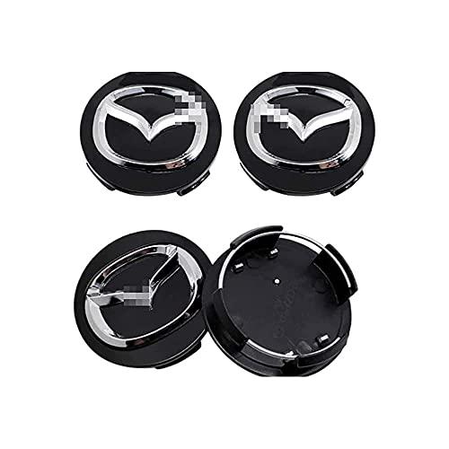 4 Stück Auto Radnabenkappen Radnabenabdeckung Center Felgendeckel Radkappen Wheel Caps Nabenkappen Nabendeckel, für Mazda Atenza Speed MX3 CX3 CX5 2 3 6 323 626 60mm mit Auto-Logo-Styling-Zubehör