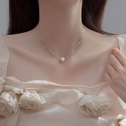 WQZYY&ASDCD Collar De Mujer Collar De Perlas De Agua Dulce Natural Pequeño De Plata De Ley 925 para Mujer 6Mm 8Mm 10Mm Redondo Simple Joyería-8Mm_45Cm