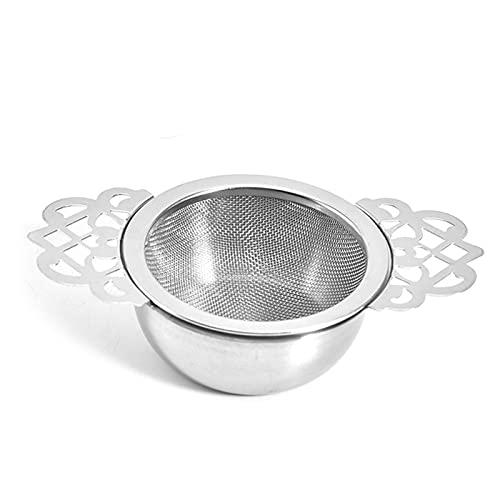ZQDL Malla de hojas sueltas de acero inoxidable colgante de té colador de goteo tazón doble oído té infusor cocina Gadget café hierbas especias