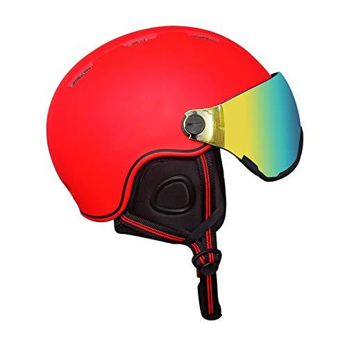 ZJM Casco De Esquí De Nieve con Gafas, Casco De Seguridad para Deportes De Nieve Al Aire Libre Casco De Ciclismo De Invierno para Esquiar, Snowboard, Ciclismo De Motocicleta, Moto De Nieve,Rojo,S