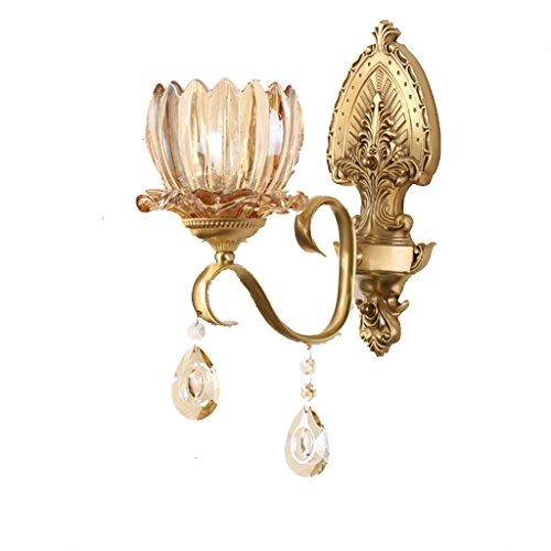 Vast leeslamp, kristal, Energy Saving, retro, koper, kunst, wand, leeslamp, E14, trap, nachtlampje, voor slaapkamer, 24 cm x 37 cm, 222