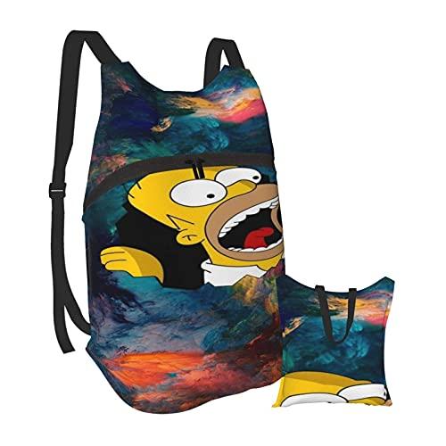 Yuanmeiju Homer Simpson Mochila de senderismo Hombres y mujeres Mochila plegable portátil impermeable Viajes Deportes Compras Ultra
