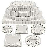 BILLIOTEAM 5 Pieces Braiding Disk Round Square Kumihimo Beading Cord Disc Braiding Braided Plate DIY Bracelet Loom Weaving Board (Round/Square Plate, White)