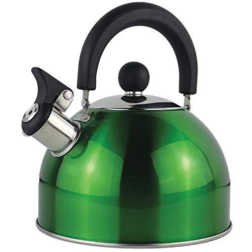 Ossian Bollitore a fischio in acciaio inox – Tradizionale fornello da cucina a gas elettrico a induzione cucina essenziale con manici freddi, coperchio rimovibile e beccuccio antigoccia (verde)