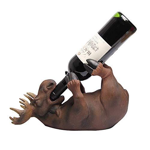 Home Equipment Diseño moderno Estante para vinos Beber Elk Soporte para botellas de vino Estatua Decoración Animales salvajes Estantes y soportes para vino Regalos para amantes del vino (Color: Mar