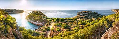 Voss Fine Art Photography Panorama Cuadro en placa de aluminio/Aludibond vista en la playa y la bahía Cala Moro en la isla de Mallorca en verano