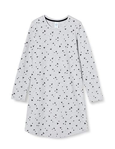 Sanetta Mädchen Sleepshirt hellgrau Melange Langes Nachthemd Graumelange mit einem Alloverprint aus kleinen Herzchen, grau, 128