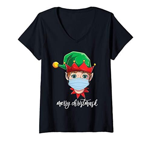 Donna Christmas 2020 quarantine mask cute elf merry christmask Maglietta con Collo a V