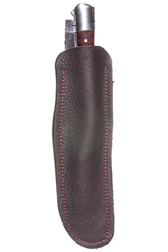 Étui à couteau Laguiole Premium - Cuir de veau de qualité supérieure - Robuste, léger et ne se déforme pas - Design classique intemporel et élégant - 14 cm de long et 4 cm de large (marron foncé avec coutures rouges)
