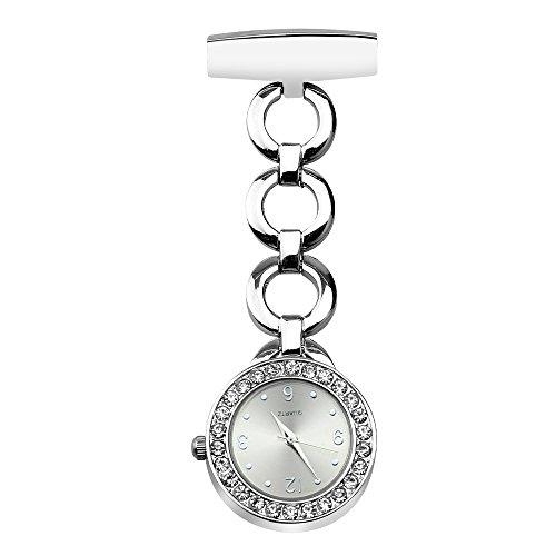 Krankenschwester Uhr Pin-on Brosche Uhr für Krankenschwester Quarz hängenden Arzt Pocket mit Geschenk-Box-4764 (ohne Glühen, Silber)