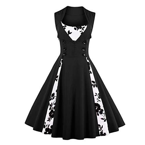 FZJDX Mujer Robe Pin Up Dress Retro Vintage Rockabilly Swing Summer Vestidos Femeninos Elegantes (Color : B, Size : S Code)