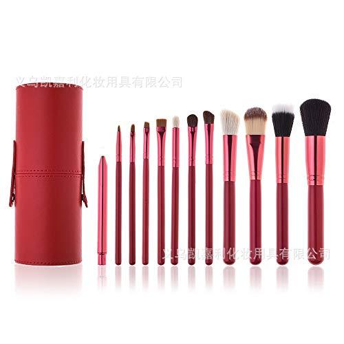 Pinceaux Maquillage Set Lot de 12 bâtonnets pour seau à maquillage, seau de rangement, 6 rouges