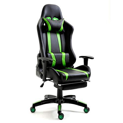 SVITA Gaming Stuhl Bürostuhl Schreibtischstuhl Drehstuhl Fußablage Farbwahl (grün)