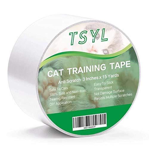 Cinta adhesiva antiarañazos para gatos para muebles protectores Stop Cats Scratching Sticky Deterctive Protectores contra rasguños para alfombras Sofá Puerta y sofá transparente 3Inches x 15 Yards