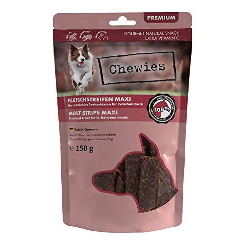 Chewies Fleischstreifen MAXI Hundeleckerli aus 100% Pferdefleisch - 150g - Fleischstreifen MAXI für Hunde - getrocknete Pferde Kaustreifen für Hunde - zuckerfrei & getreidefrei - Dörrfleisch vom Pferd