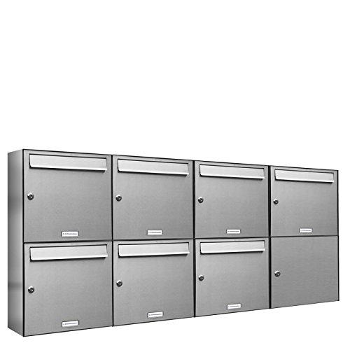 AL Briefkastensysteme 7er Briefkastenanlage Edelstahl, Premium Briefkasten DIN A4, 7 Fach Postkasten modern Aufputz