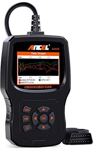 ANCEL EU510 Lettore di Codice OBDII Avanzato Errore del Motore Scanner Diagnostica Auto OBD2 Predefinita con Test della Batteria per Veicoli Diesel e Benzina con Manuale in italiano