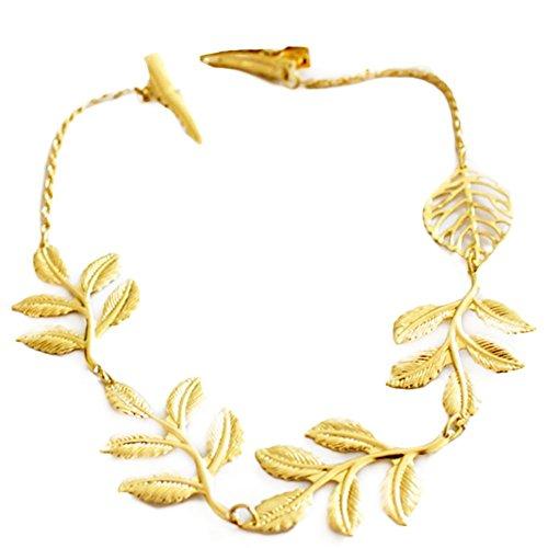 LAAT Pinzas de Cabello Banda para el Cabello Forma de la Hoja de Oro Cadena de Pelo