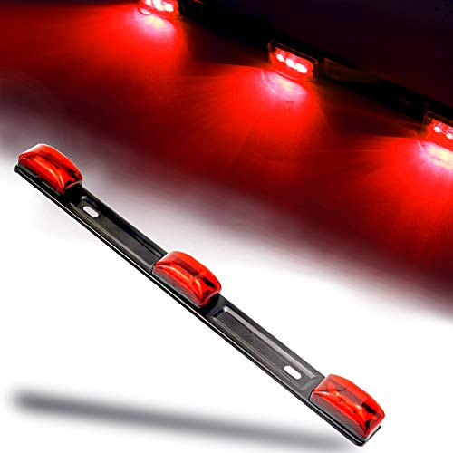 "iBrightstar Waterproof 14"" Red LED Marker ID Lights Bar with Black Stainless Steel Bracket Assembly for Pickup Trailers Truck Boat SUV RV"