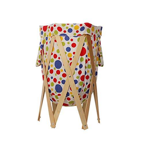 AMYHY Cesta de lavandería plegable, estante de almacenamiento para clasificar ropa, cesta con marco de madera, adecuado para baño, dormitorio, biblioteca de coches
