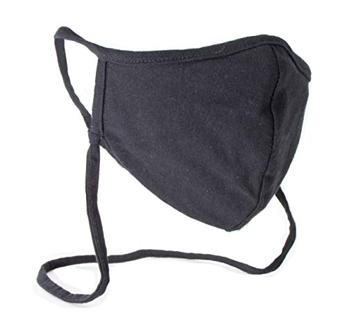 Buttonsmith Black Adult XL Cotton Adjustable Face Mask - Made in the USA