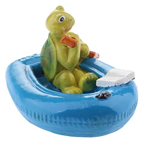 Homyl Schwan schwimmend Dekoschwan Schwimmfigur, Ideal für Garten Teich Rasen Deko Schwimmfigur Teichdeko der Hingucker im Teich - 5# Blaue Boot Schildkröte
