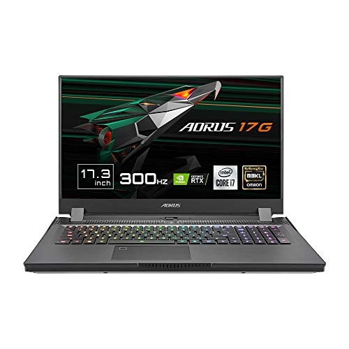 "Gigabyte AORUS 17G YC-8ES6450SH - Ordenador portatil de 17.3"" FullHD 300Hz ( Intel Core i7-10870H, 32GB RAM, 1TB SSD, Nvidia RTX3080GB-8GB, Windows 10 Home) Negro - Teclado QWERTY Español"