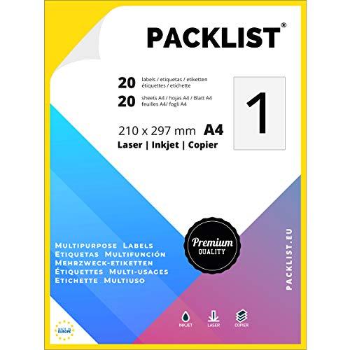 PACKLIST 20 Etiquetas Adhesivas A4 Blancas, 210 x 297 mm. - 20 Hojas Papel Pegatina para Imprimir A4, 1 Etiqueta por Hoja - Papel Adhesivo para Imprimir - Papel de Pegatina para Imprimir de Calidad