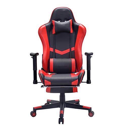 CHENPENG Massage Gaming Chair Ergonomischer Rennsport Computer Büro Schreibtischstuhl E-Sports Stuhl mit Fußstütze und Massage Rückenlehne und Lendenkissen,Rot,with footrest