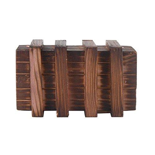 LEORX Caja mágica Brain Teaser dos mágicos madera cajones