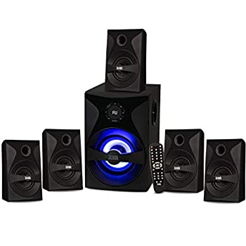 Acoustic Audio by Goldwood Bluetooth 5.1 Surround Sound System with LED Light Display FM Tuner USB and SD Card Inputs - 6-Piece Home Theater Speaker Set Includes Remote Control - AA5400 Black