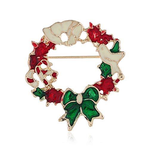 Defantia Weihnachtsthema Brosche Diamant Kostüm Zubehör Kreative Retro Elch Kranz Weihnachtsgirlande