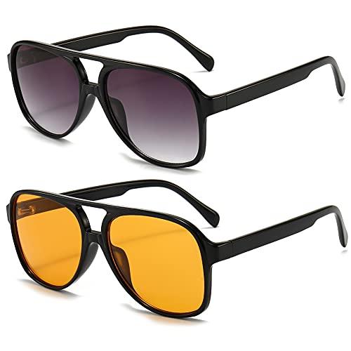 RUNHUIS Gafas de sol polarizadas para hombre y mujer, estilo retro de los años 70, estilo aviador, Negro/Gris/Negro/Amarillo,