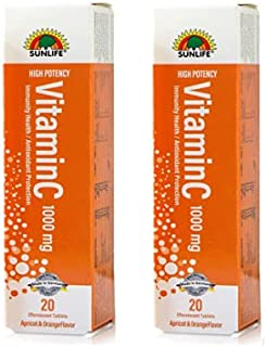Sunlife effervescent vitamin C-1000mg 20 effervescent tablets ( pack of two)