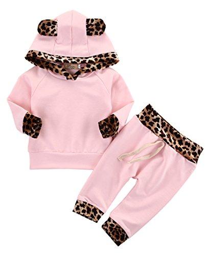 Neugeborenes Baby Mädchen Warm Hoodie T-Shirt Top + Hose Outfits Set Kleidung Set (0-6 Monat)