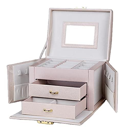 Beiiuxa's - Joyero de viaje para joyas, portátil, con cerradura, 2 cajones, espejo, cerradura y llaves, idea de regalo (rosa)