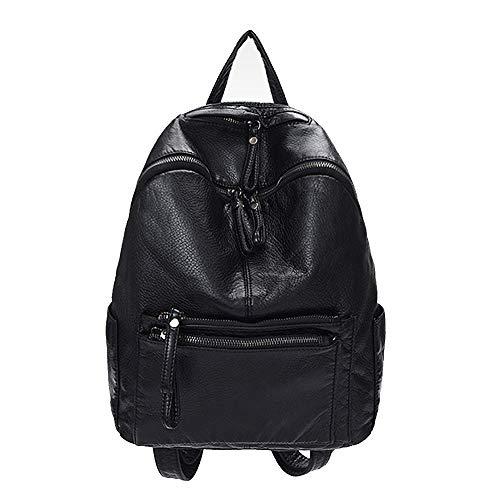 WannaDress Damen-Rucksack, modisch, weiches PU-Leder, Alltagsrucksack, lässige Schultertasche, Studenten, modische Tasche, Schwarz (schwarz), Einheitsgröße