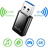 Cudy WU1300 AC 1300Mbps WiFi USB Adapter for PC, USB 3.0, USB WiFi Dongle, 5Ghz /2.4Ghz, WiFi USB, USB Wireless Adapter for Desktop/Laptop, Compatible with Windows Vista /7/8/8.1/10, mac OS, Linux
