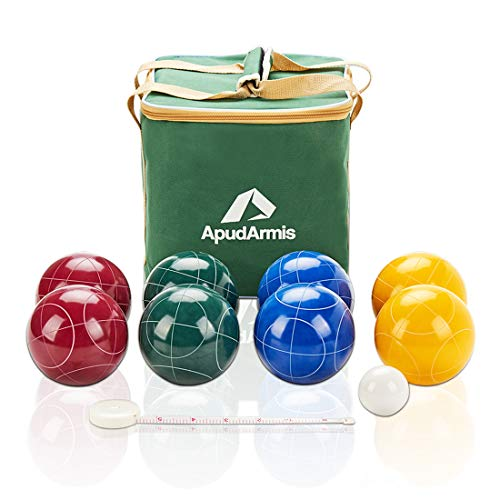 ApudArmis 107mm Bocce Balls Set, Outdoor Tournament Bocce Game for Backyard/Lawn/Beach -...