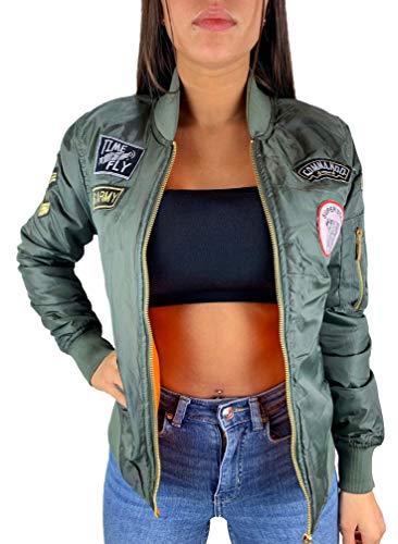 Worldclassca Damen Bomber Jacke MIT Army MILITÄR Patches ÜBERGANGSJACKE Bomberjacke Blouson Piloten Jacke Fliegerjacke Blogger Clubwear NEU REIßVERSCHLUSS NEU XS-L (S/M - (34-38), Khaki 2 Patches)
