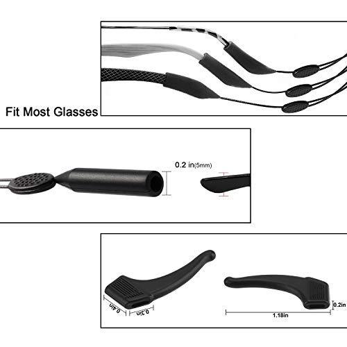 Retenedor de Gafas Sin Correa de Gafas de Sol con Tapa TAGVO Eyewear Retainer 3 Pack con Pa/ño de Limpieza para Gafas